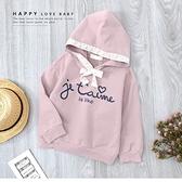 韓版甜美蕾絲綁帶英文連帽上衣 粉 落肩 毛圈內裡 縮口 保暖 女童上衣 厚 兒童長袖 冬童裝