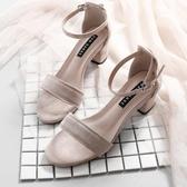 高跟鞋 一字帶涼鞋女夏季仙女百搭粗跟中跟ins潮羅馬時裝高跟鞋 莎瓦迪卡