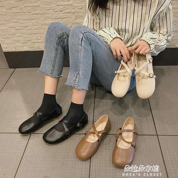 娃娃鞋 日系軟妹淺口單鞋女2020春季新款百搭娃娃鞋森系復古平底瑪麗珍鞋