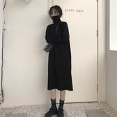 秋季韓版女裝寬鬆顯瘦過膝中長款針織毛衣裙高領長袖打底連衣裙