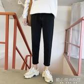 冬季港風牛仔褲男寬鬆直筒韓版潮流學生加絨褲子9分黑色九分褲男 韓小姐