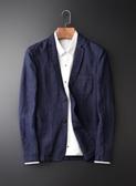 《澤米》日系亞麻小西裝 時尚 休閒 西服 春夏秋季 新款 薄款 外套 帥氣 商務 深藍 黑色(全館任