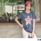 《AB11014》台灣製造.星星英文印圖配色車線點綴短袖上衣/T恤 OrangeBear