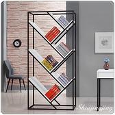 【水晶晶家具/傢俱首選】JF0819-4微光白色90×190cm黑鐵砂開放書櫃