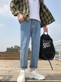 牛仔裤-牛仔褲男寬鬆直筒墜感闊腿夏季淺色男生休閒九分褲子韓版潮流百搭