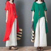 大碼襯衫 棉麻連衣裙女夏新款不規則顯瘦寬鬆大碼中長款上衣韓版亞麻襯衫裙