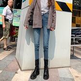 牛仔褲女2020秋冬新款高腰加絨修身顯瘦百搭緊身九分小腳鉛筆褲子 米娜小鋪