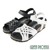 U60-22610 女款小坡跟涼鞋 交叉編織鏤空沾黏式小坡跟涼鞋【GREEN PHOENIX】
