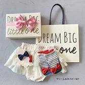 【日本製】日本製 禮品組 嬰兒 燈籠短褲 襪子 髮夾 灰白色 x 海軍藍色 SD-1185 -