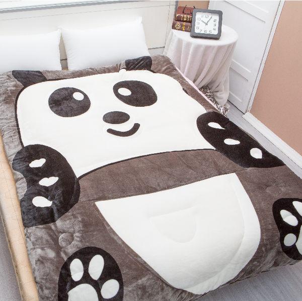 【名流寢飾家居館】卡通動物造型.可愛熊貓.法萊絨.法蘭絨.雙面花色.暖暖被.保暖毛毯被