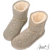 Ann'S夢幻燙鑽雪花真皮厚毛短筒雪靴-灰