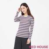 【RED HOUSE 蕾赫斯】圓領條紋上衣(共2色)