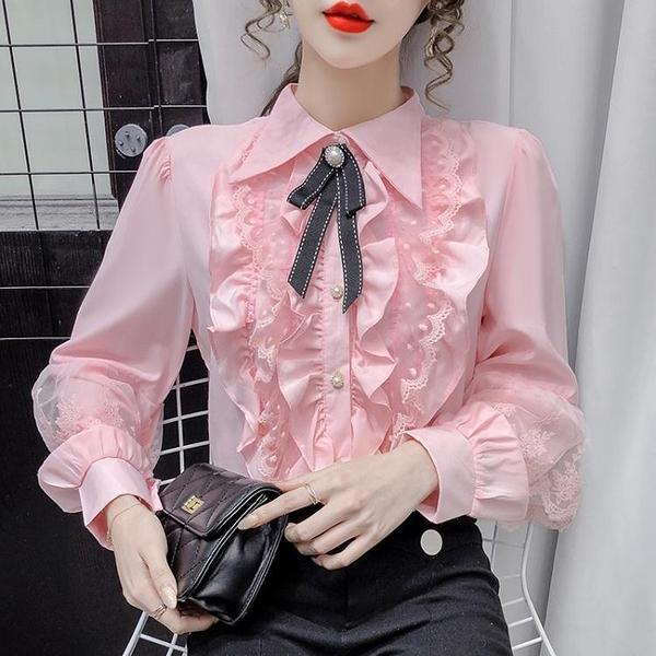 雪紡上衣 2021年新款早春季洋氣雪紡衫小眾設計感法式長袖蕾絲襯衫上衣女裝 小衣里大購物