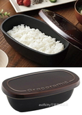 asdfkitty可愛家☆Graceramic微波爐專用長方型陶瓷有蓋料理保存容器/炊飯器-1.5合-日本正版商品
