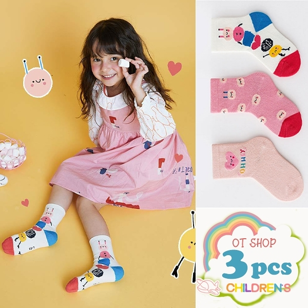 OT SHOP [現貨] 三入組 兒童襪 女童襪 襪子 中筒襪 運動襪 卡通 愛心圖案 可愛粉嫩色系 M6024