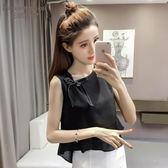 聖誕狂歡 無袖背心女夏季小清新韓版寬鬆娃娃衫外穿打底短款雪紡衫上衣t恤