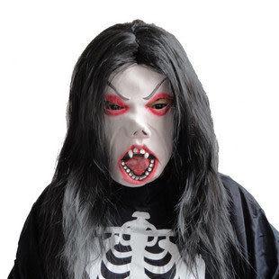 萬聖節面具 化妝舞會面具 黑發魔女(紅臉) 170克