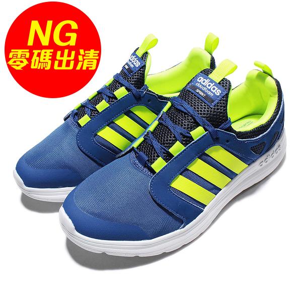 【US11-NG出清】adidas 慢跑鞋 Cloudfoam Sprint 藍 螢光黃 二手使用痕跡 男鞋 運動鞋【ACS】