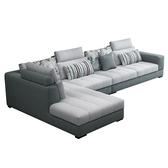 布藝沙發簡約現代可拆洗客廳轉角L型沙發貴妃組合整裝 【快速出貨】