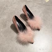 秋冬尖頭毛毛單鞋淺口細跟高跟鞋粉色仙女貓跟鞋性感時尚女鞋 XN7059【極致男人】