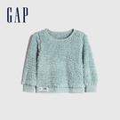 Gap女幼童 保暖仿羊羔絨圓領休閒上衣 656552-淺綠色