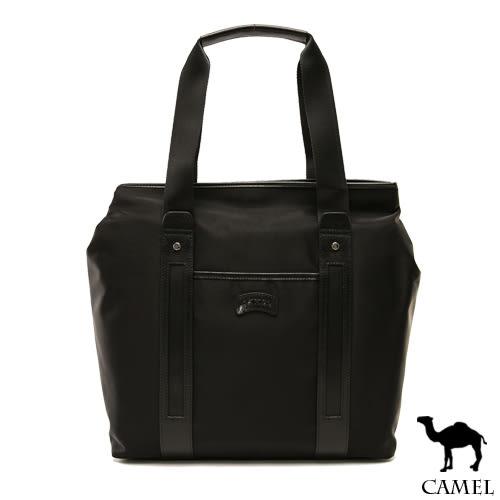 CAMEL - 倫敦品味十字紋防潑水牛皮手提托特包-共2色
