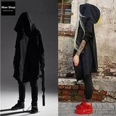 韓版暗黑者系型男刺客教條風格披風式全灰全黑灰素色長版連帽外套 有大尺碼