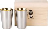 PREMIUM燕三【日本代購】和平フレイズ 24K鍍金 不銹鋼杯390ml 2件套 木盒装 典藏 送禮 EM-9410