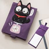 Kiro貓‧大眼小黑貓筆記本套組/手帳簿/隨手筆記/布書套【222724】