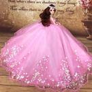 芭芘比娃娃套裝大禮盒婚紗公主女孩兒童衣服...