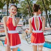 中大尺碼海邊修身彈性女生女裝氣質百搭新款如廁寬鬆美背泳衣女速干 QG7568『優童屋』