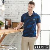 【JEEP】叢林迷彩短袖POLO衫-深藍