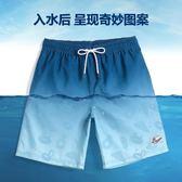 蓋浪藍色漸變度假沙灘褲男速干寬鬆大碼休閒短褲平角男泳褲素色花