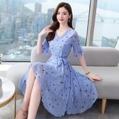依酷衫 洋裝 雪紡連身裙氣質顯瘦流行碎花仙女裙森系甜美