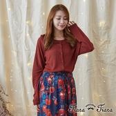 【Tiara Tiara】激安 半荷葉領排釦針織罩衫外套(卡其/紅)