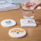 米立風物硅藻土吸水杯墊茶杯墊日式卡通杯墊創意隔熱墊可愛餐桌墊