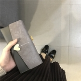 女士錢包女長款手拿包正韓學生簡約百搭錢夾搭扣復古零錢包 【免運】