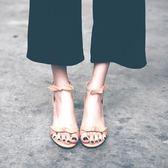 高跟鞋涼鞋女夏季高跟鞋韓版2018蝴蝶結女鞋羅馬粗跟一字帶仙女的鞋 貝芙莉女鞋