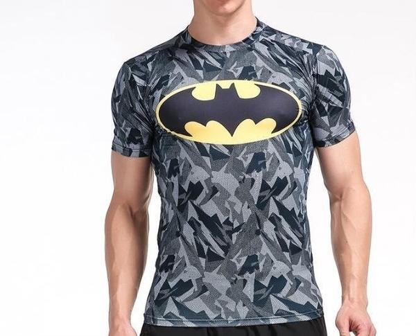 FINDSENSE MD 日系 時尚 男 胸前蝙蝠標 高彈力 緊身運動短T 訓練