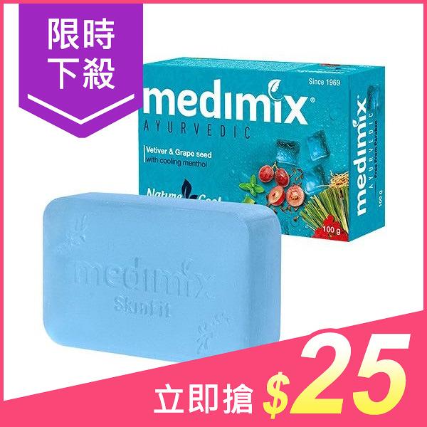 印度MEDIMIX 藍寶石沁涼美肌皂100g(岩蘭草&葡萄籽)【小三美日】$29