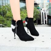裸靴 冬天鞋子女貂毛尖頭細跟短靴女秋冬季新款貓跟小跟短靴 df8162【Sweet家居】