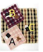 【京之物語】DAKS日本製經典小熊格紋純綿方毛巾-褐色/紫色/粉色