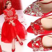 結婚鞋子中式婚鞋女2018新款紅色敬酒韓版高跟粗跟孕婦秀禾新娘鞋 晴天時尚館