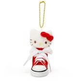 〔小禮堂〕Hello Kitty 帆布鞋造型絨毛玩偶娃娃吊飾《紅白》掛飾.鑰匙圈 4548643-13570