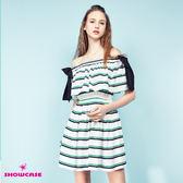 【SHOWCASE】蝴蝶結荷葉平領條紋縮腰洋裝(白)
