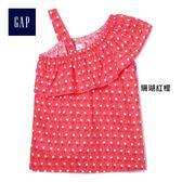 Gap女童 不對稱花卉印花短袖上衣 229643-珊瑚紅橙