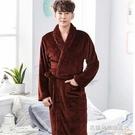 冬季加長款加厚法蘭絨情侶睡衣男士大碼睡袍珊瑚絨浴衣浴袍女春秋 名購居家