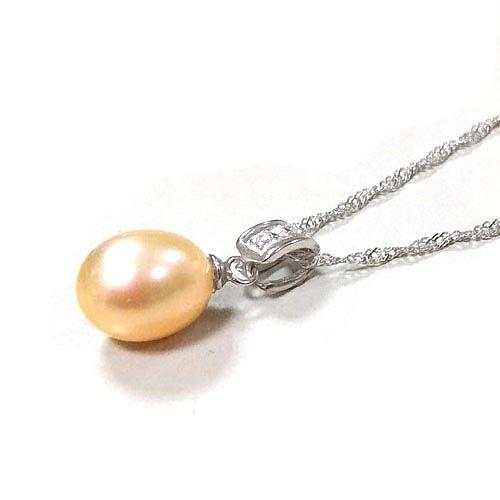 天然珍珠水滴與鋯石吊環純銀項鍊