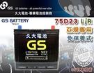 【久大電池】GS 統力 汽車電瓶 免保養式 GTH 75D23R 55D23R 適用 汽車電池