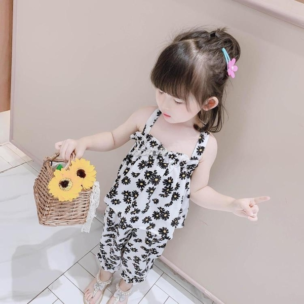 女童夏裝套裝新款中小童夏季洋裝洋氣女寶寶網紅吊帶兩件套 夏沫之戀